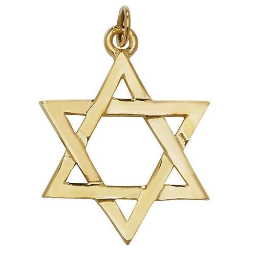 9 carat yellow gold star of david pendant