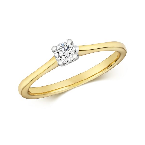 9 carat yellow gold diamond solitaire