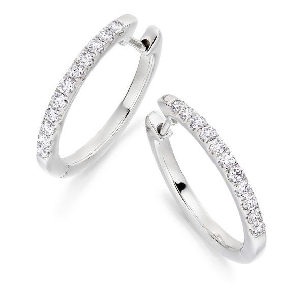 9ct white gold diamond hoop earrings
