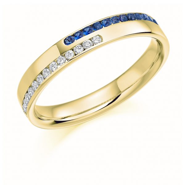 9 carat yellow gold diamond and sapphire eternity
