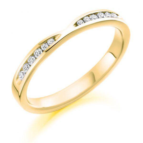9 carat yellow gold diamond fitted wedding band