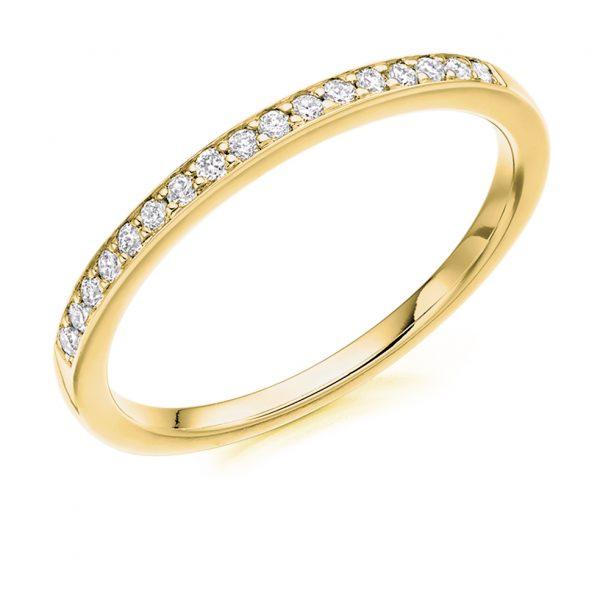 9 carat yellow gold diamond band