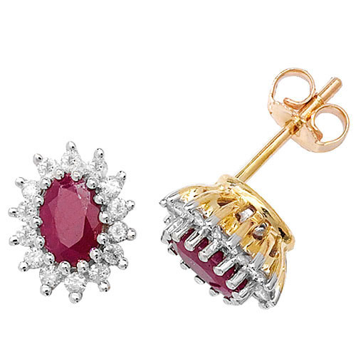 9 carat gold ruby and diamond cluster earrings