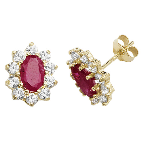 Gold Stone Set Earrings
