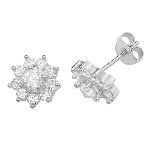 Flower shaped CZ Earrings