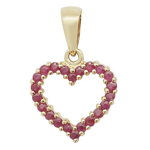 9 carat gold ruby heart pendant