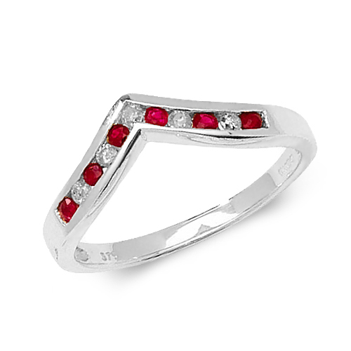 9 carat white go,d diamond and ruby wishbone ring