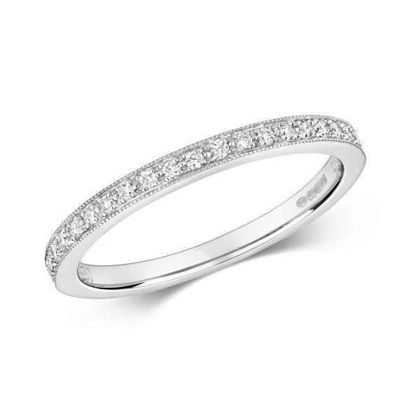9 carat white gold grain set diamond wedding ring