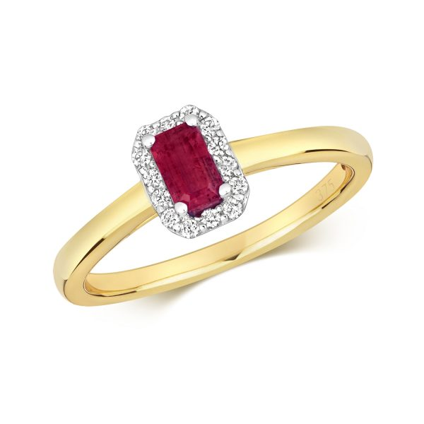 9 carat yellow gold diamond and ruby ring