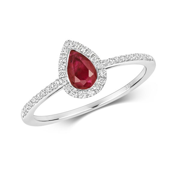 9 carat white gold diamond and ruby ring