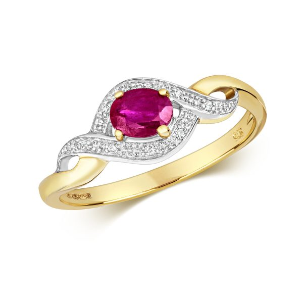 9 carat yellow gold cross over style ruby and diamond ring