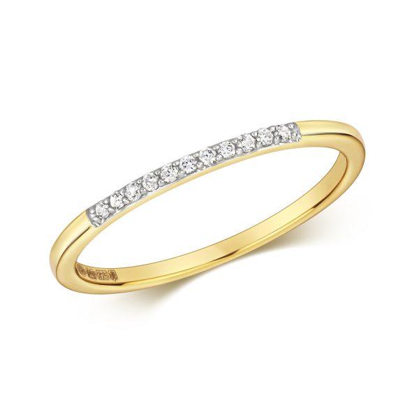 9 carat yellow gold diamond wedding ring