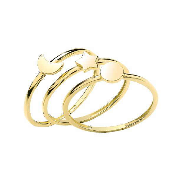 9 carat yellow gold triple ring