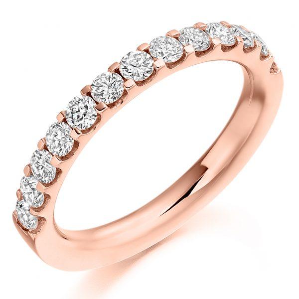 18 carat rose gold diamond half eternity ring