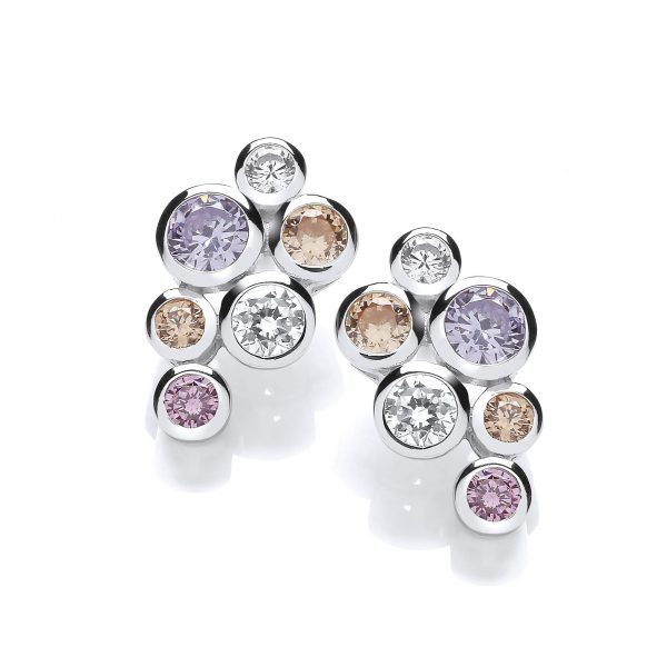 sterling silver coloured cz earrings