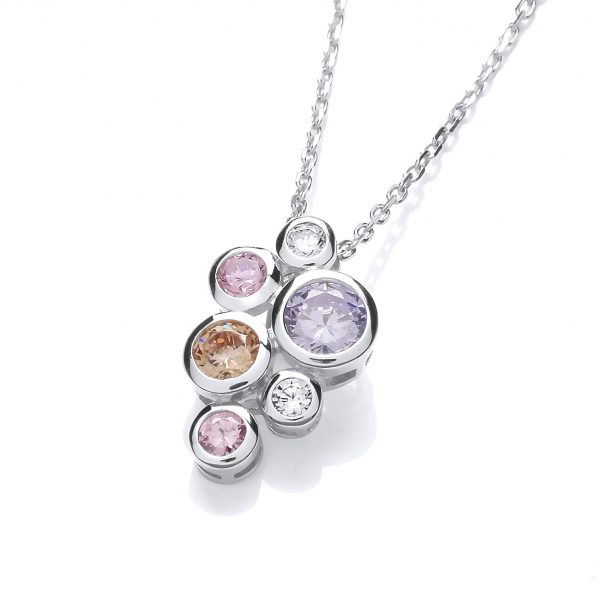 Sterling silver coloured cz pendant and chain