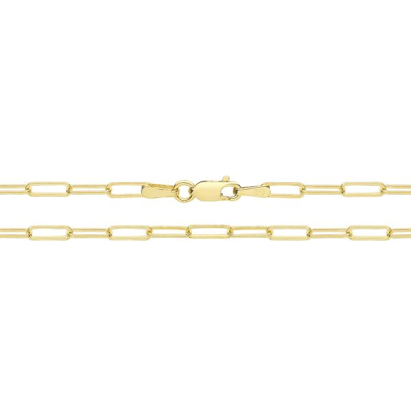 9 carat yellow gold paperclip chain anklet