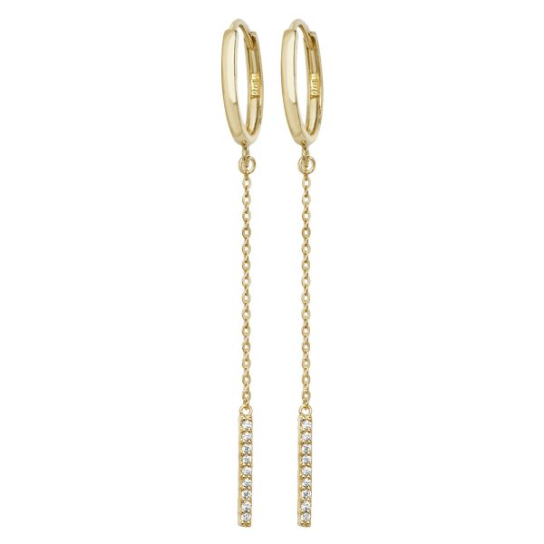 9 carat yellow gold cz bar drop earrings