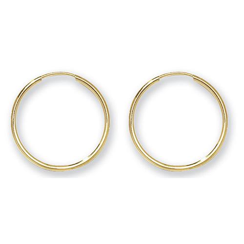 9 carat yellow gold sleeper earrings 18mm