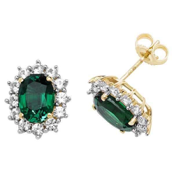 9 carat gold created emerald cluster earrings