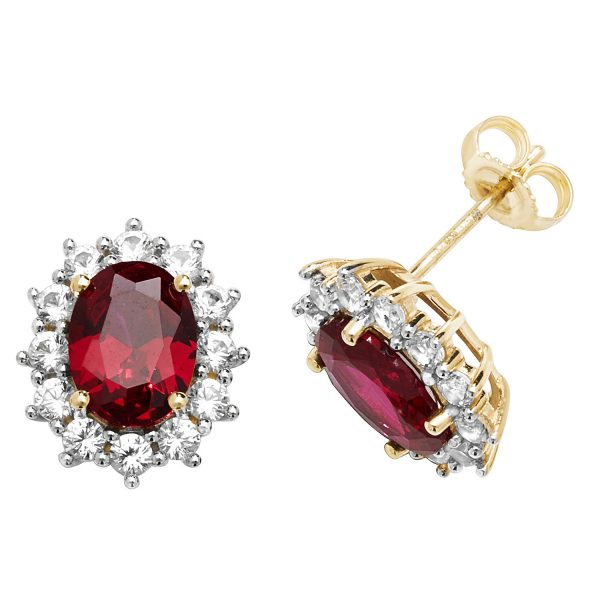9 carat yellow gold created ruby cluster earrings