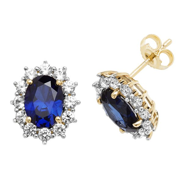 9 carat gold created sapphire earrings