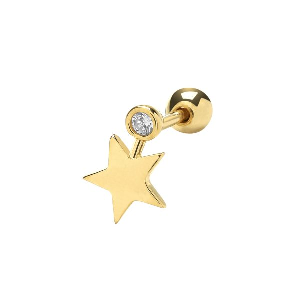 9 carat gold star and cz cartilage earring
