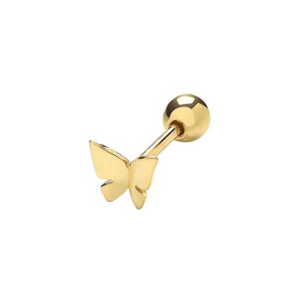 9 carat gold butterfly cartilage earring