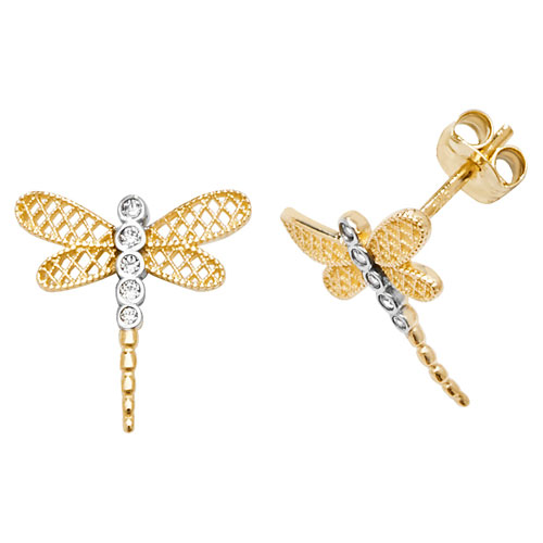 9 carat yellow gold dragonfly earrings