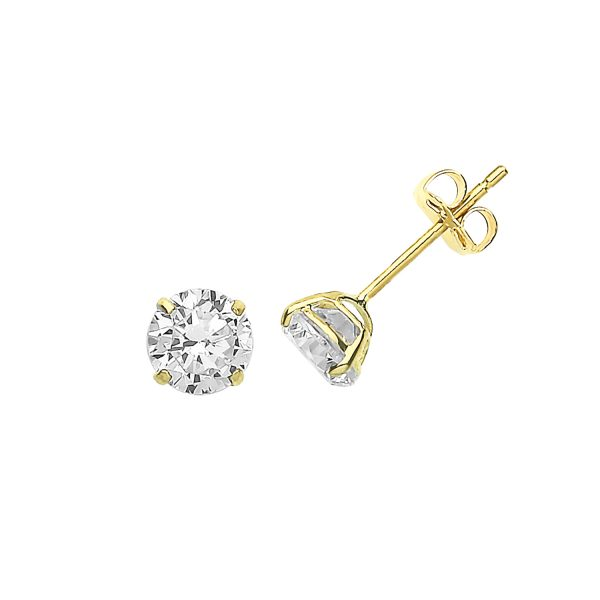 9 carat yellow gold 5mm cz earrings