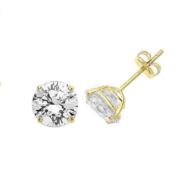 9 carat yellow gold cz stud earrings