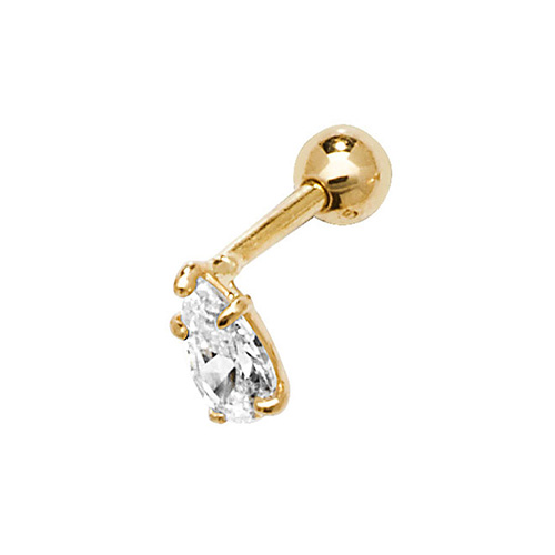 9 carat yellow gold pear cz cartilage earring