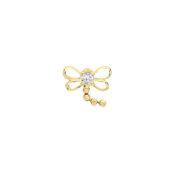 9 carat yellow gold dragonfly cartilage earring