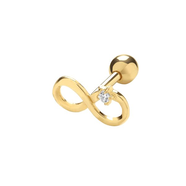 9 carat yellow gold infinity cartilage earring