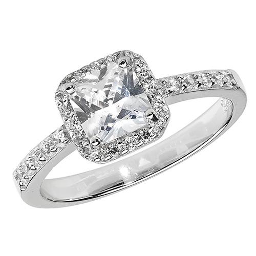 silver fancy cz ring