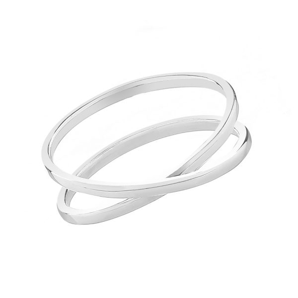 silver cross over band ring