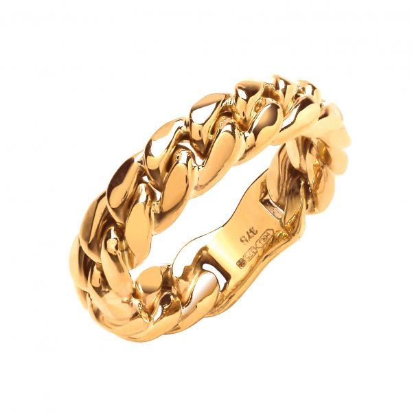 9m carat gold curb link ring