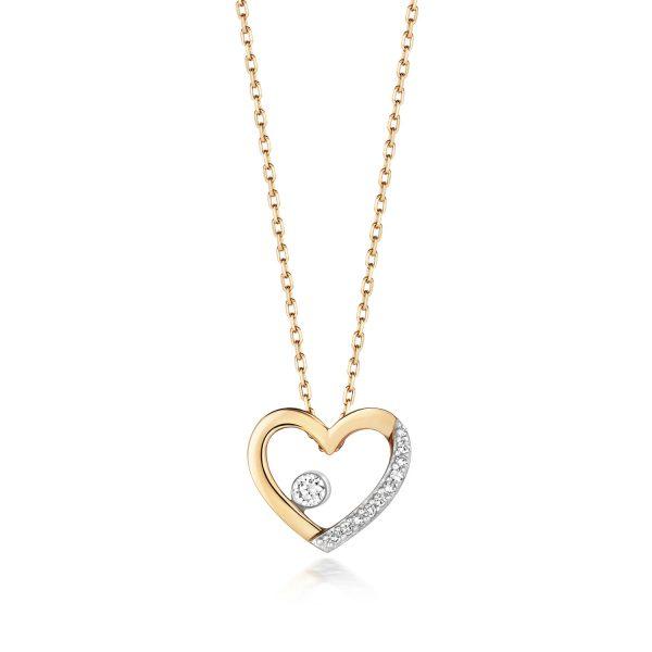9 carat gold diamond heart pendant and chain