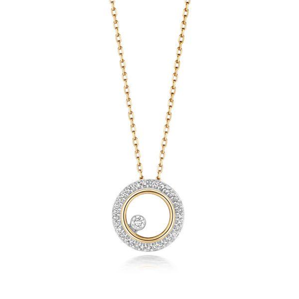 9 carat yellow gold circle diamond pendant