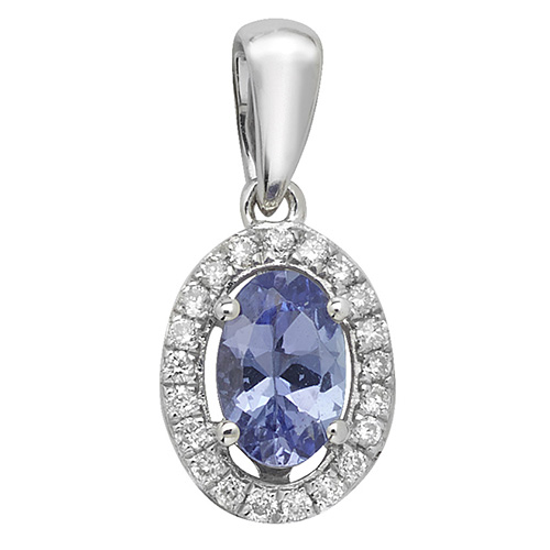 9 carat white gold tanzanite and diamond pendant
