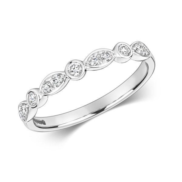 18 grata white gold diamond half eternity ring