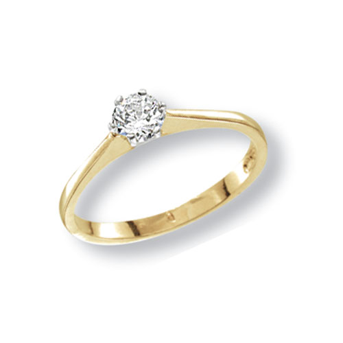 9 carat yellow gold cz solitaire ring