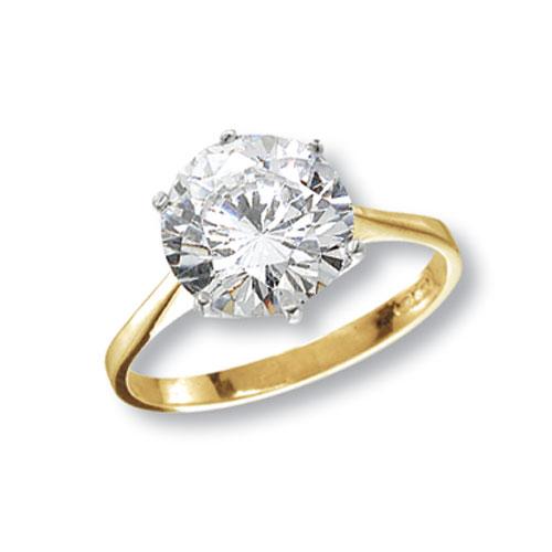9 carat yellow gold cz ring large