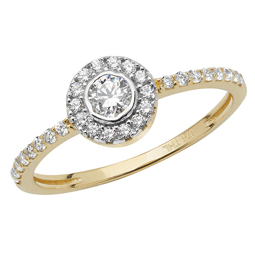 9 carat yellow gold cz cluster ring