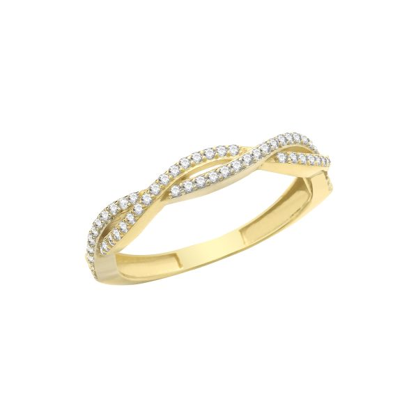 9 carat yellow gold cross over style cz ring