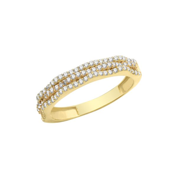 9 carat yellow gold cz ring