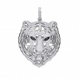 sterling silver cubic zirconia tiger head pendant