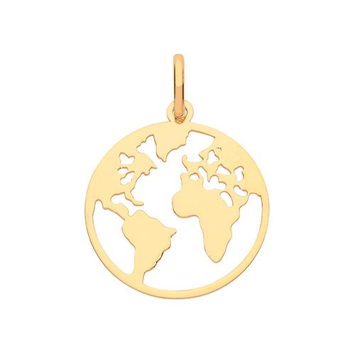 9 carat yellow gold globe world pendant