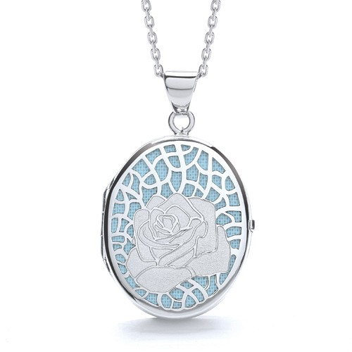 sterling silver oval blue background locket and chain