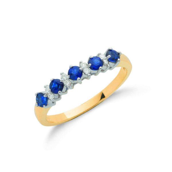 9 carat gold sapphire and diamond eternity ring